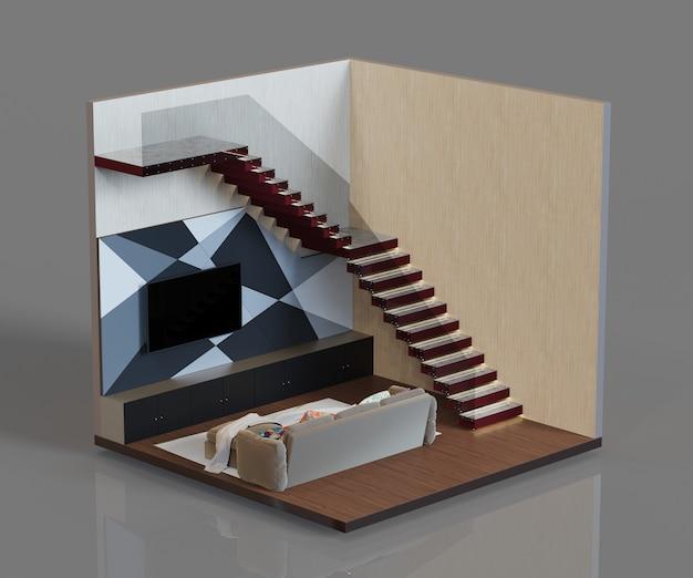 Современный дизайн интерьера гостиной с кресельной лестницей с лампой изометрическая комната 3d рендеринг