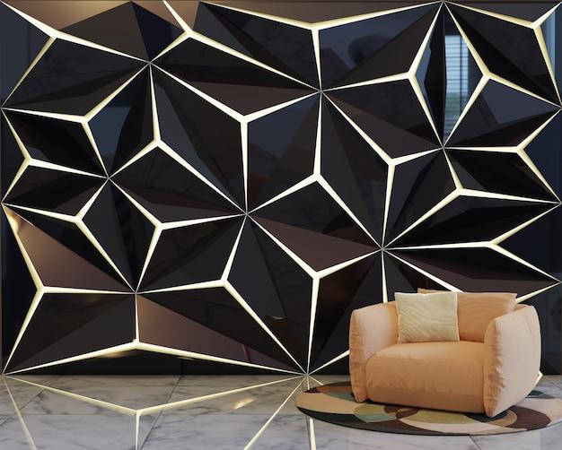 Современный дизайн интерьера гостиной с стеновой панелью с мягкой обивкой на стене.