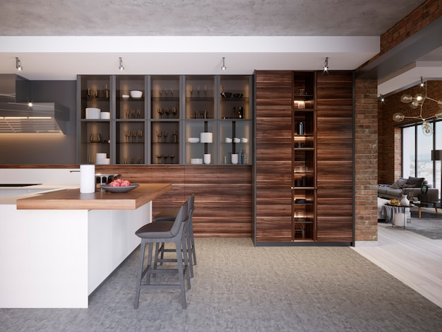현대적인 스타일의 현대적인 디자인 주방 인테리어는 기술 가구와 주방 기기를 갖추고 있습니다. 3d 렌더링.