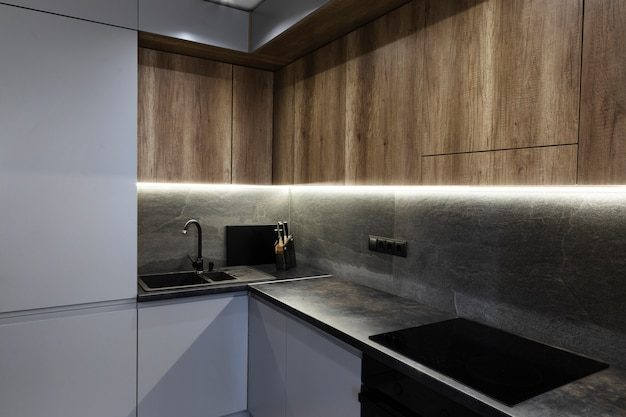 Modern design kitchen with ambiental light