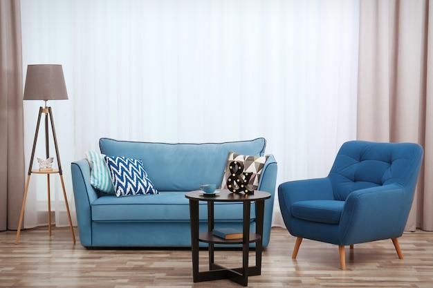 Modern design of living room interior