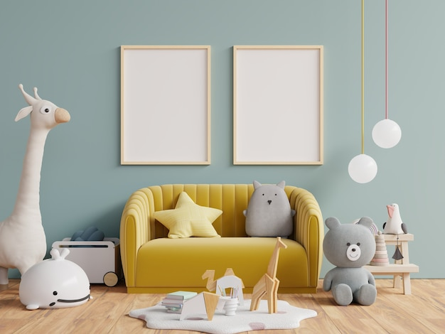 Modern and design mockup posters in child room interior, posters on empty dark green wall background,3d rendering