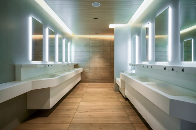 공중 화장실과 화장실의 현대적인 디자인.
