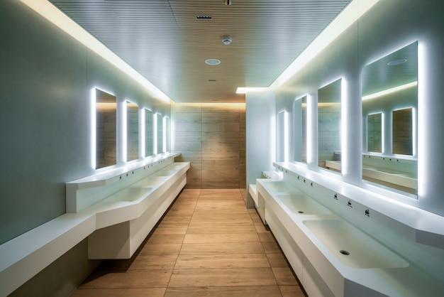 Modern design of public toilet and restroom.