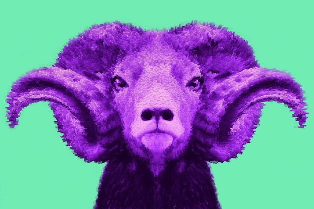 Modern design, purple goat head on a turquoise background, confidence, perseverance, courage bright trendy colors, shocking art, style for a magazine, fashionable web design. copy the space.