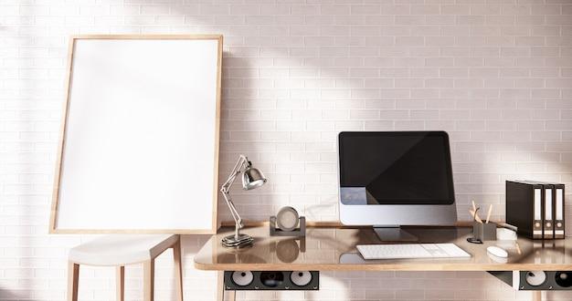 オフィスルームの3dレンダリングのためのモダンな机と椅子