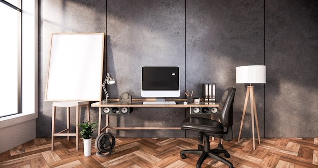 사무실 방 3d 렌더링을위한 현대 책상과 의자