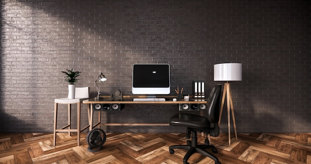 Modern desk and chair for office room 3d rendering