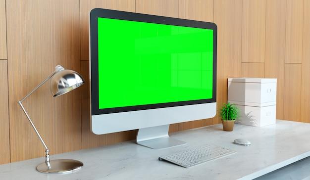 Modern desktop interior with silver computer