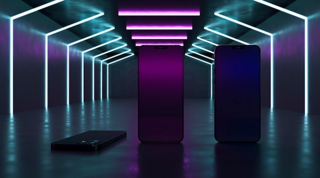 Modern devices with neon lights