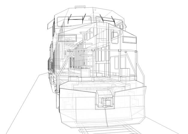 Современный тепловоз большой мощности и мощности для движения длинных и тяжелых поездов. 3d-рендеринг.