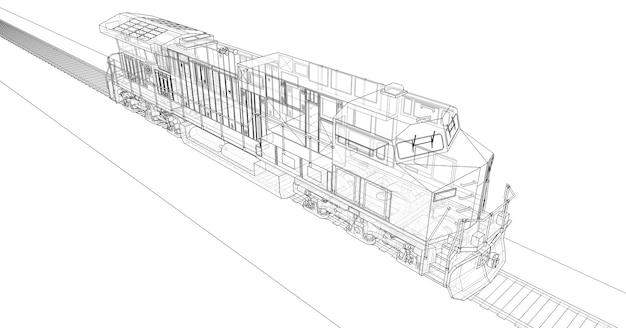 길고 무거운 철도 열차를 이동시키는 강력한 힘과 힘을 가진 현대식 디젤 철도 기관차. 3d 렌더링.