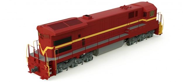 Modern diesel railway locomotive with great power and strength for moving long and heavy railroad train