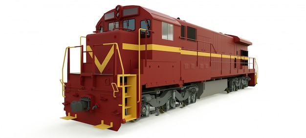 Modern diesel railway locomotive with great power and strength for moving long and heavy railroad train.