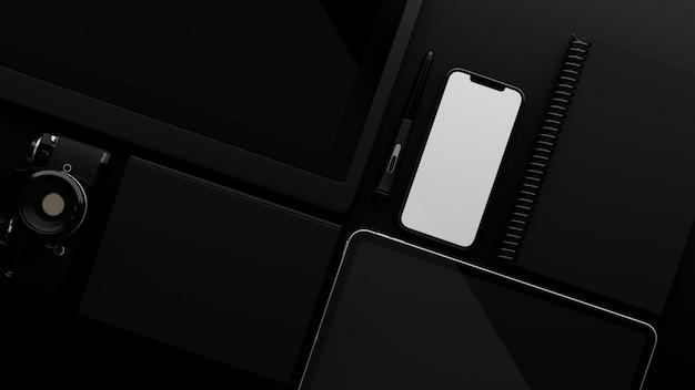 Современный цифровой гаджет, смартфон, макет пустого экрана на черном фоне, 3d-рендеринг
