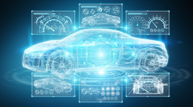 Современный цифровой интеллектуальный автомобильный интерфейс Premium Фотографии