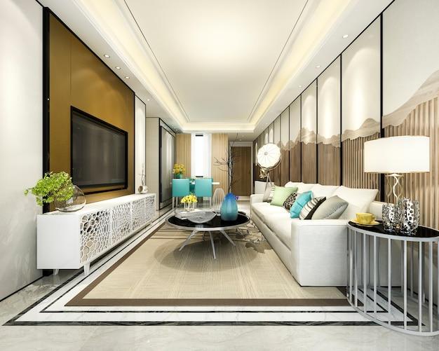 モダンなダイニングルームとキッチン、豪華な装飾が施されたリビングルーム