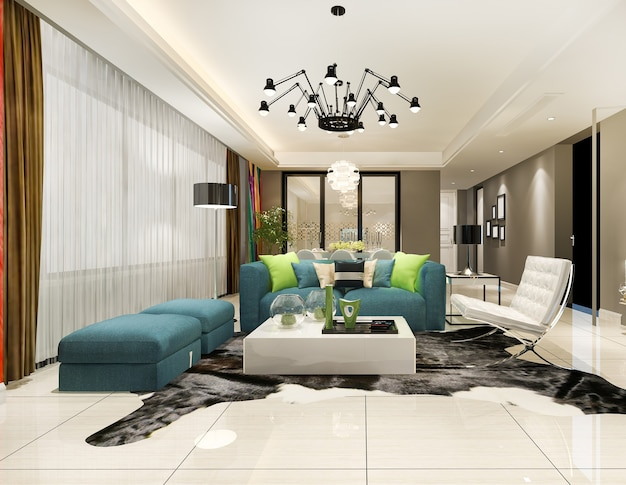 モダンなダイニングルームと豪華な装飾が施されたリビングルーム