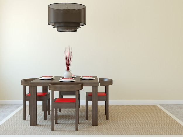 Modern dining-room interior.  3d render.