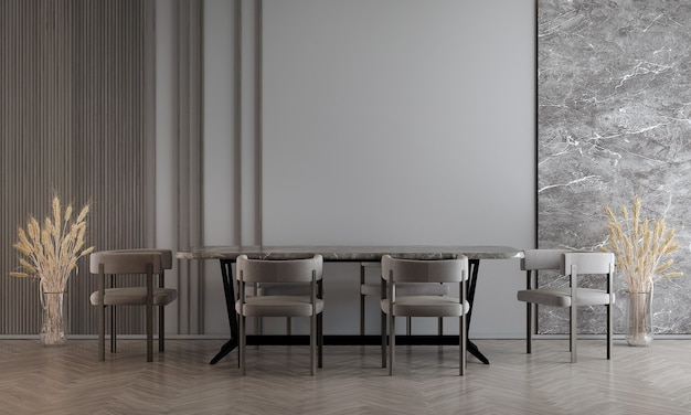 Modern dining room interior design with decoration and empty mock up furniture, 3d rendering, 3d illustration
