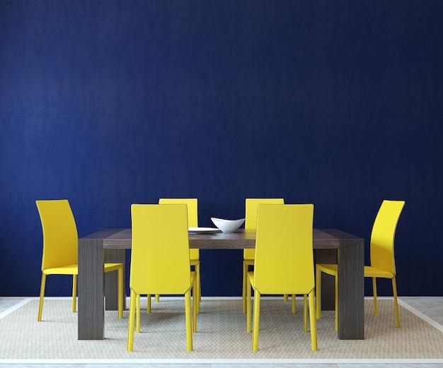 현대적인 식당 인테리어. 미니멀리즘. 3d 렌더링.