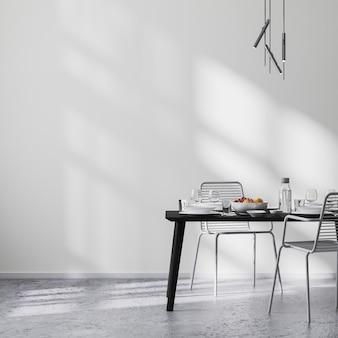 검은색 테이블과 의자, 햇빛이 비치는 흰색 벽, 콘크리트 바닥, 미니멀리즘 스타일, 스칸디나비아, 3d 렌더링을 갖춘 현대적인 식당 내부
