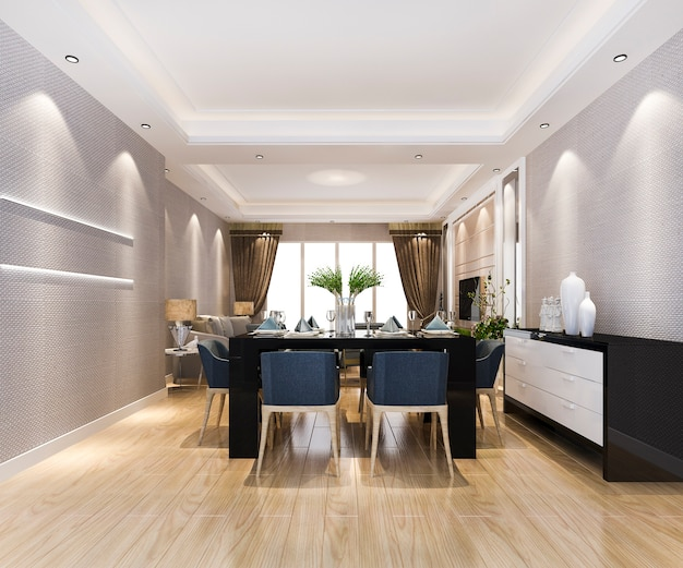 Modern dining room and living room with luxury decor and leather sofa
