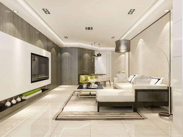 Modern dining room and living room with luxury decor