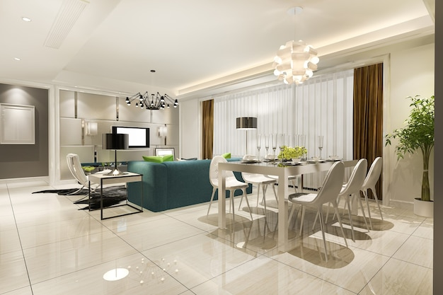 Modern dining room and living room with luxury decor Premium Photo
