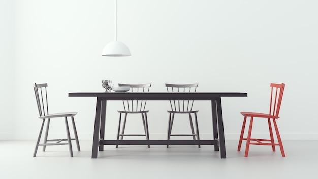 Modern dining room & white background Premium Photo