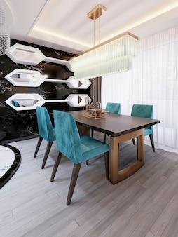 アールデコ調のダイニングテーブルを備えたモダンなダイニングルーム。白い棚と鏡が付いている装飾的な黒い大理石の壁。デザイナーのテーブルと椅子。 3dレンダリング。