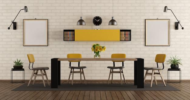 Современная столовая с черно-желтой мебелью