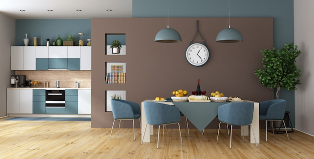 Modern dining room with dining table and kitchen