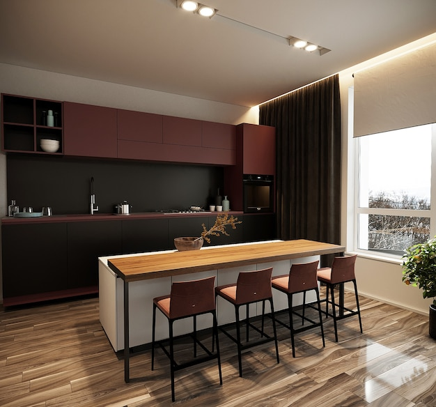 Modern dining room with kitchen furniture, free