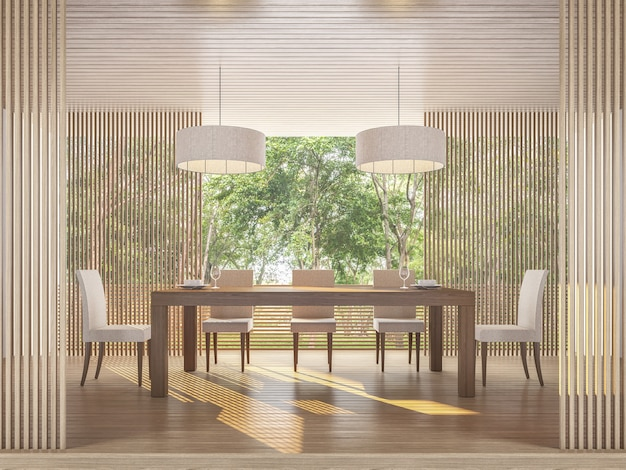 Modern dining room with nature view 3d render wooden floor and ceiling surrounded by nature