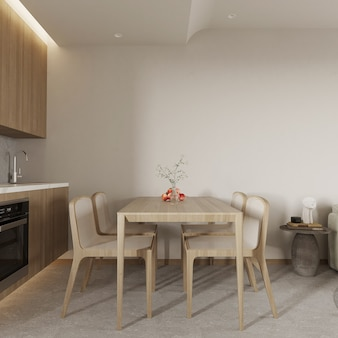 테이블과 의자 3d 렌더가 있는 현대적인 식당