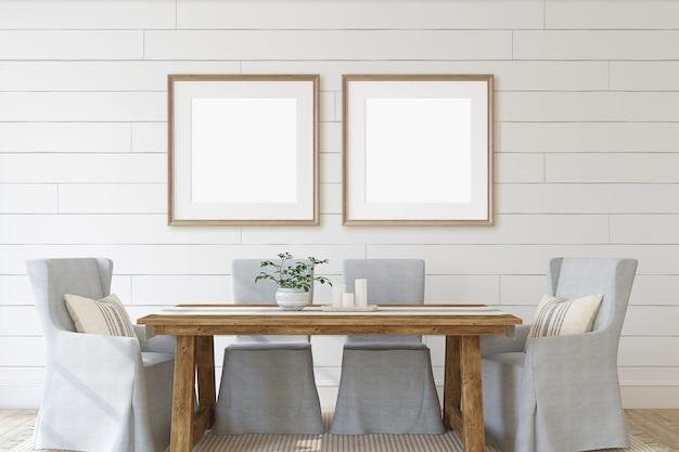 Современная столовая с двумя квадратными рамами на стене. макет интерьера и каркаса. 3d визуализация.