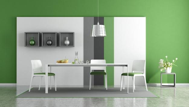 Современная столовая с белым столом и стульями