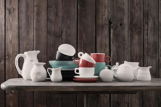 Modern dinnerware on wooden in kitchen