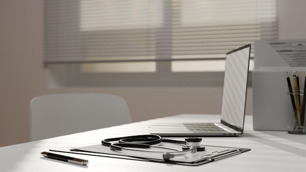 클리닉 의사 사무실 공간의 현대적인 의사 상담실, 노트북 모형 3d 렌더링