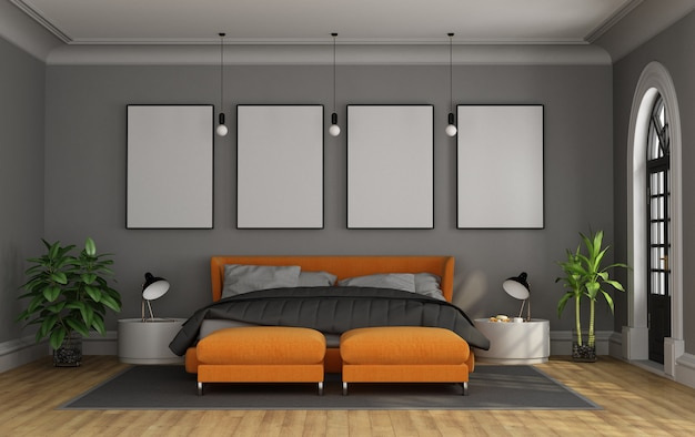 Modern double bed in a classic room