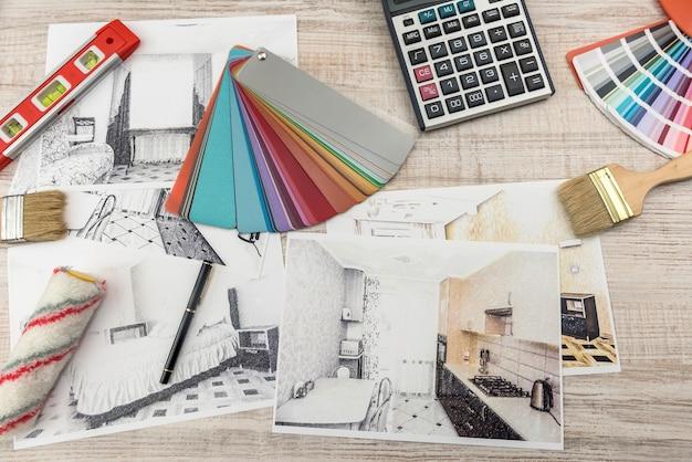 방의 현대 드로잉 연필 밑그림입니다. 인테리어 디자인 프로젝트 개념.