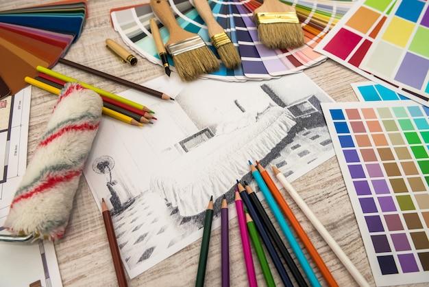 部屋のモダンな描画鉛筆スケッチ。インテリアデザインプロジェクトのコンセプト。