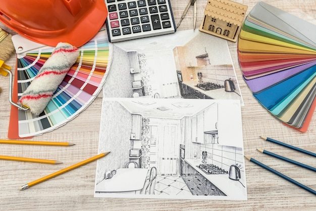 Modern drawing pencil sketch of a room. interior design projects concept.