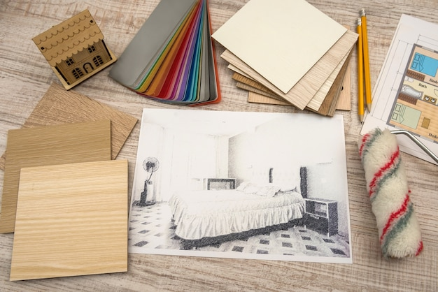 Modern drawing pencil sketch of a room interior design projects concept