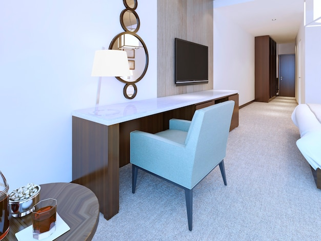 Modern dresser minimalist style in bright hotel room with combined round mirror and table lamp .