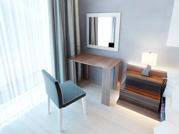 Modern dressing table with chair and mirror, and a bedside nightstand with lamp. bedroom with wooden furniture of brown color with a glossy finish. 3d render.