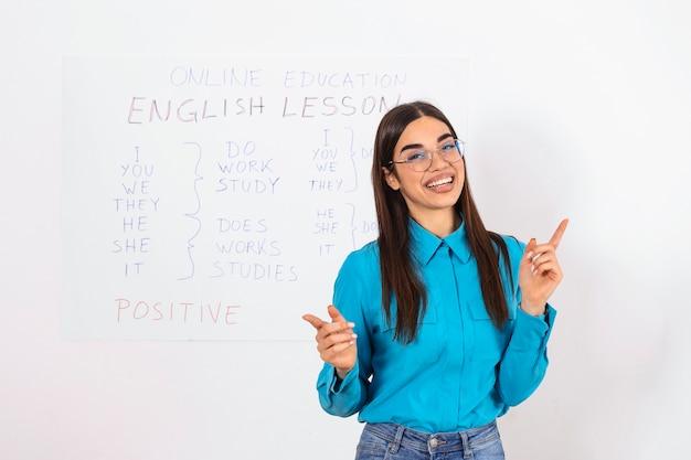 リモートでの現代教育。陽気な若い女性が黒板を指して、オンラインで英語のルールを説明します