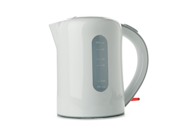 Modern electric kettle isolated on white