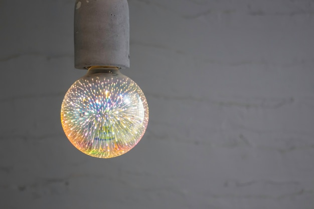 Modern electricity light bulb decorated in living room